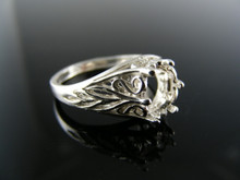 R60  RING SETTING STERLING SILVER, SIZE 7.25, 8X6MM OVAL STONE