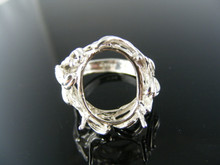 3858 RING SETTING STERLING SILVER, SIZE 8.25, 18X13 MM OVAL  STONE