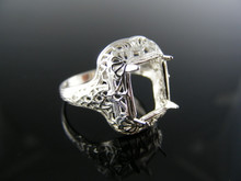 R9 ANTIQUE RING SETTING STERLING SILVER, SIZE 7.25, 9X7 MM EMERALD FACETED STONE