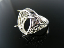 R112 RING STERLING SILVER, SIZE 7.5, 18X13 MM FACETED OR CAB STONE