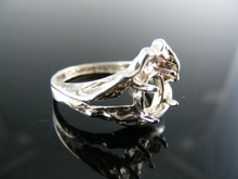 R139 RING SETTING STERLING SILVER, SIZE 8.25, 8X6MM OVAL FACETED STONE