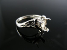 5517  RING SETTING STERLING SILVER, SIZE 5.5, 6.5 MM HEART STONE