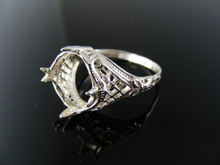 5582  RING SETTING STERLING SILVER, SIZE 6.25, 12X10 MM OVAL STONE