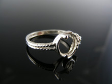 5595  RING SETTING STERLING SILVER, SIZE 7.25, 8X6 MM OVAL STONE (CABACHON)
