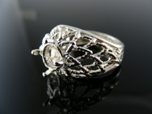 5614  RING SETTING STERLING SILVER, SIZE 6.25, 6.5 MM ROUND STONE