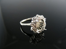 2388 RING SETTING STERLING SILVER, SIZE 5, 12X10 MM OVAL STONE