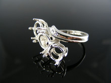 5622  RING SETTING STERLING SILVER, SIZE 6, 3-6.5 MM ROUND STONES