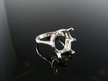 1543  RING SETTING STERLING SILVER, SIZE 5.75, 14X12 MM OVAL STONE
