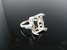 2694 RING SETTING STERLING SILVER, SIZE 6.25, 16X12 MM EMERALD STONE
