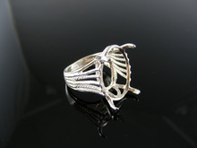 4946  RING SETTING STERLING SILVER, SIZE 7.25, 22X16 MM OVAL STONE