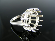4579  RING SETTING STERLING SILVER, SIZE 5.25, 15MM ROUND STONE