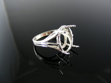 5441 RING SETTING STERLING SILVER, SIZE 8.25, 14X12 MM OVAL STONE
