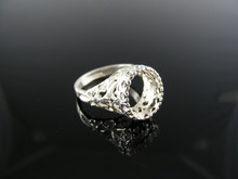 5499 RING SETTING STERLING SILVER, SIZE 6.5, 11X9 MM OVAL STONE