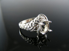 5634 RING SETTING STERLING SILVER, SIZE 7.5, 8X6 MM OVAL