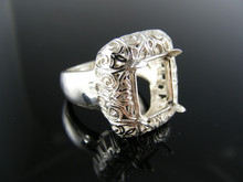 5510 RING SETTING STERLING SILVER, SIZE 7.5, 12X10 MM EMERALD