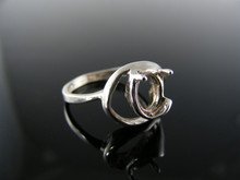 5673 RING SETTING STERLING SILVER, SIZE 6.75, 8X6 MM OVAL CAB STONE