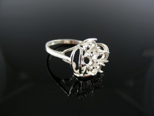 5660 RING SETTING STERLING SILVER, SIZE 6.25, 4-5X3 MM OVAL STONES