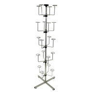 """72"""" X 1-1/4"""" Revolving 20 Arm Hat Tree Chrome - Holds Up To 20 Hats"""