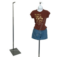 "Adjustable Floor Stand 49"" - 78"" Brushed Metal For Hanging Forms Or Mannequins"