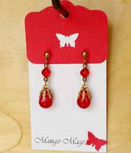 Red Dangle Glass Earrings