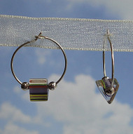 Sterling Silver Purple Glass Cane Bead Hoops