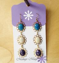 Triple Dangle Fossil Stone Earrings - Blue/Cream/Purple