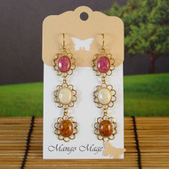 Triple Dangle Fossil Stone Earrings - Pink/Cream/Brown
