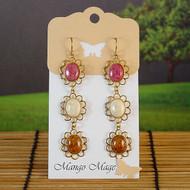 Triple Dangle Fossil Stone Earrings - Pink/Cream/Brown