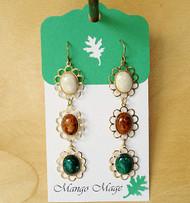 Triple Dangle Fossil Stone Earrings - Cream/Brown/Green