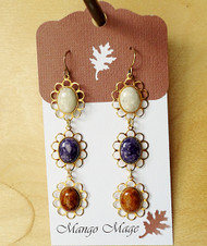 Triple Dangle Fossil Stone Earrings - Cream/Purple/Brown