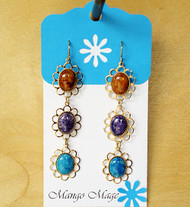 Triple Dangle Fossil Stone Earrings - Brown/Purple/Blue
