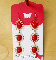 Triple Dangle Fossil Stone Earrings - Red