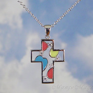 Sterling Silver Colorful CZ Cross Necklace
