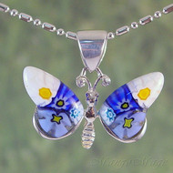 Millefiori Butterfly Sterling Silver Pendant - Style #1