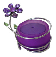 Purple Crystal Flower Glass Incense Burner