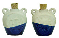 Porous Ceramic Oil Moon & Sun Jug - Dark Blue