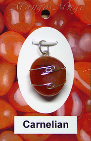 Carnelian Sterling Silver Wire-Wrapped Stone Pendant