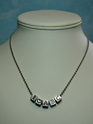 Alphabet Beads - Silver Tone Ball Chain Necklace