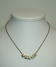 Alphabet Beads - Gold Tone Ball Chain Necklace