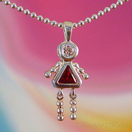 January Girl Sterling Silver C.Z. Birthstone Kids Pendant