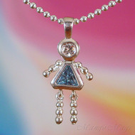 March Girl Sterling Silver C.Z. Birthstone Kids Pendant