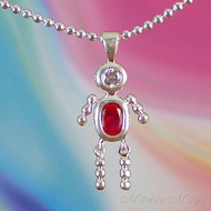 July Boy Sterling Silver C.Z. Birthstone Kids Pendant