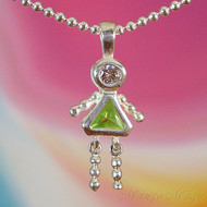 August Girl Sterling Silver C.Z. Birthstone Kids Pendant