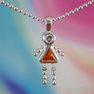 November Girl Sterling Silver C.Z. Birthstone Kids Pendant