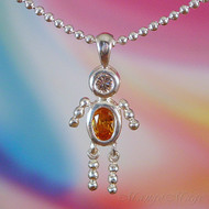 November Boy Sterling Silver C.Z. Birthstone Kids Pendant