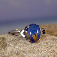 Lapis Rutile Sterling Silver Ring - Size 7