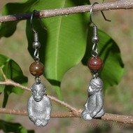 Petrified Wood Gorilla Earrings