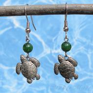 Green Jade Turtle Earrings