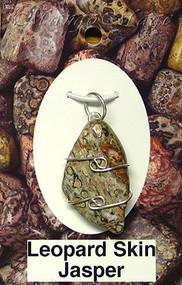 Leopardskin Jasper Sterling Silver Wire-Wrapped Stone Pendant