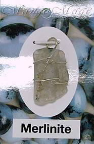 Merlinite Sterling Silver Wire-Wrapped Stone Pendant